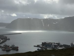View back to Honningsvag...and some weather