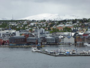 Tromso with snowy backdrop